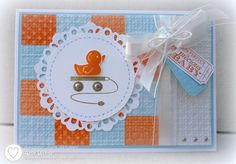 Brights Patterns dsp stack, Naturals White card stock, Square Lattice embossing folder, Embellished Events stamp set, soft suede and pumpkin pie markers, silver brads, paper piercer, Bashful Blue marker, Delicate Doilies sizzlit die, white organza ribbon, vintage faceted button, white baker's twine, Just the Ticket stamp set, Pumpkin Pie and Bashful Blue ink, mini silver brads