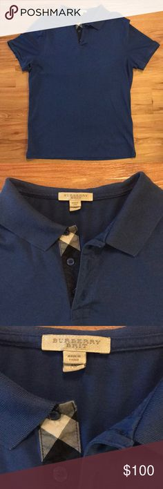 Burberry Brit Polo Shirt Men's Burberry Brit Blue Polo Shirt. Size: XL. Burberry Check Pattern in collar. Excellent Condition! Only worn a few times. Burberry Shirts Polos