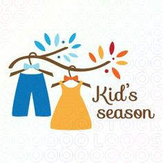 Branch with children clothes. Boutique Logo, Kids Boutique, Logo Branding, Branding Design, Clothing Logo Design, Wishes For Baby, Kids Logo, Business Signs, Baby Shop
