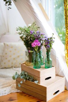 Floral Arrangements from a Boho Chic Baby Shower via Kara's Party Ideas | KarasPartyIdeas.com (14)