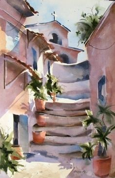 beautiful watercolors artwork by Jinnie May, American artist Art Watercolor, Watercolor Landscape, Guache, Figure Painting, Painting Art, Caricatures, American Artists, Art World, Monuments