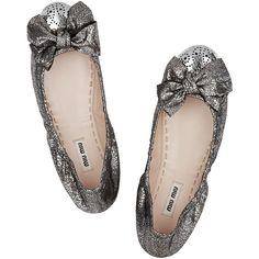Miu Miu Cracked metallic-leather ballet flats ($297) ❤ liked on Polyvore
