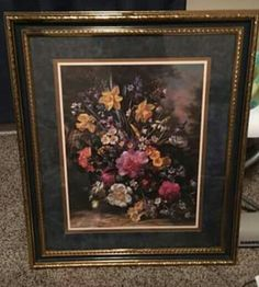 Home Interior Bouquet Flower Gold Tone Framed Art Matted Blue Picture 28 X 24 Art Mat, Blue Pictures, Retro Home, Floral Bouquets, Selling On Ebay, Blue Gold, Vintage Antiques, Framed Art, Etsy Shop