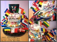 EUROVISION - My eurovision cake I created, for this years eurovision song contest. 2013. Birthday Bash, Themed Parties, Party Themes, Fancy Dress, Cupcake Cakes, Grand Prix, Cake Decorating, Nailart, Flags