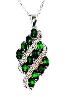 Russian-Chrome-Diopside-Pendant-with-chain-3-carats