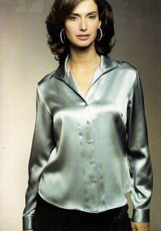 87 best images about satin blouses Satin Top, Silk Satin, Blouse Dress, Blue Blouse, Satin Bluse, Skirt Images, Green Satin, Beautiful Blouses, Blouse Styles