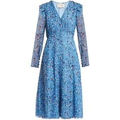 Carolina Herrera Abstract floral-print V-neck silk crepe dress (180.100 RUB) ❤ liked on Polyvore featuring dresses, blue print, v-neck dresses, floral ruffle dress, ruffle dress, v neck dress and blue ruffle dress