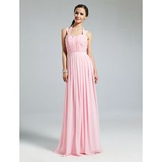 6aaeb9048449 θήκη   στήλη halter πάτωμα-μήκους σιφόν φόρεμα νύφης - EUR € 65.33 Φορέματα  Για