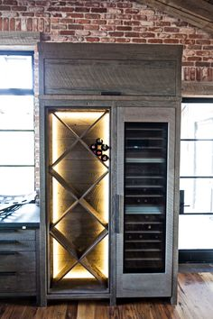 Love it ❥ Wine refrigerator and backlit bottle shelving in rustic modern kitchen: the brick, wooden floor. Home Interior Design, Interior And Exterior, Interior Decorating, Home Design, Design Design, Design Ideas, Wine Bottle Rack, Wine Rack, Wine Refrigerator