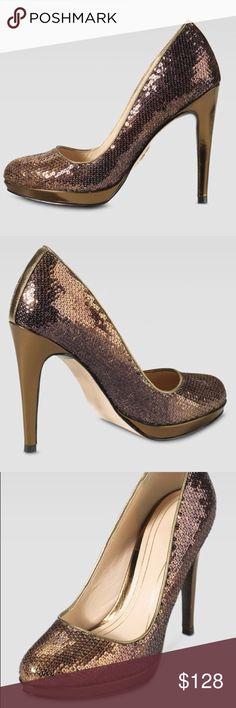 """Cole Haan Chelsea High Bronze Sequin Pumps Size 9 EUC no flaws!! Nike Air, 1/2"""" platform, 4"""" heel, leather sole, metallic bronze sequins with ombré effect Cole Haan Shoes Heels"""