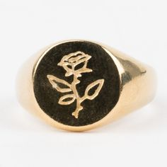 local eclectic | Rose Signet Ring Yellow Rose Flower, Ring Bear, Simple Rose, Gold Plated Rings, Moonstone Ring, Signet Ring, Jewelry Design, Rings For Men, Gemstones