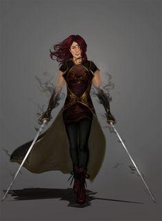 Dual Swords, Ana Luzajic on ArtStation at https://www.artstation.com/artwork/VgKrn