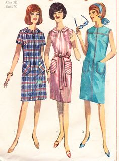 1960s Vintage Womens Sewing Pattern Sack Dress by Sutlerssundries, $7.99