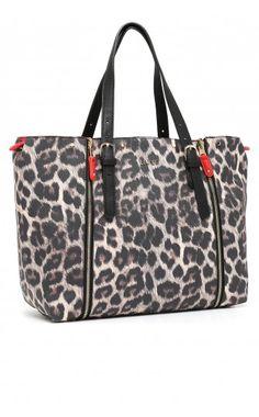 Shopping bag reversibile con parte esterna stampa animalier e parte interna  in unito 3e75883fd48