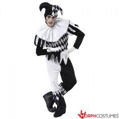 Mens Halloween Harlequin Medieval Jester Joker Clown Fancy Dress Costume Outfit for sale online Circus Fancy Dress, Jester Outfit, Jester Costume, Ladies Fancy Dress, Circus Costume, Costume Hats, Halloween Fancy Dress, Card Costume