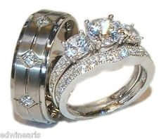 His & Hers 3 Piece Vintage Style Wedding Ring Set Sterling Silver & Titanium. Starting at $39