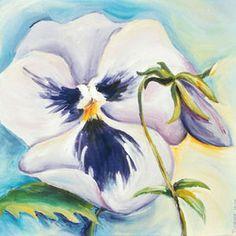Schilderij viooltje - Te koop schilderij bloem bloemen viooltje viooltjes schilderij klein schilderij klein kunstwerk beeldende kunst webwinkelen