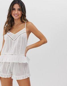 Buy ASOS DESIGN mix & match cotton ladder trim cami top at ASOS. Get the latest trends with ASOS now. Pijamas Women, Pajama Shorts, Sleepwear Women, Looks Style, Cami Tops, Mix Match, Nightwear, Night Gown, Women Lingerie
