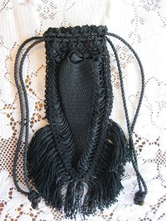 Antique Victorian / Edwardian Black Mourning Purse Wristlet Wrist Purse Reticule Drawstring Receptacle Crocheted w Silk Lining & Long Fringe