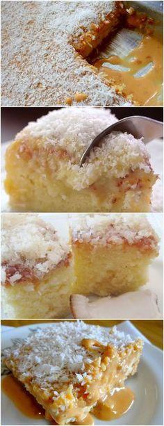 BOLO MOLHADO DE COCO COM DOCE DE LEITE, FÁCIL DE DELICIOSO!! Bata as claras em neve. No mesmo recipiente, sem parar de bater, junte as gemas e misture bem. #receita#bolo#torta#doce#sobremesa#aniversario#pudim#mousse#pave#Cheesecake#chocolate#confeitaria