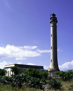 Navassa Island Light with the light keeper's quarters in the background