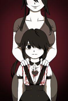 Ryoba Aishi with her daughter, Ayano Aishi (Yandere-chan) Animes Yandere, Yandere Manga, Yandere Girl, Anime Manga, Yandere Simulator Memes, Yendere Simulator, Ayano X Budo, Creepypasta Cute, Card Captor