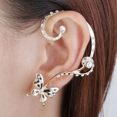 Vintage Asymmetry Rhinestone Butterfly Women Ear Cuff, Two Colors Available
