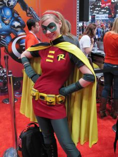 Stephanie Brown Robin. This I have to admit is the only cosplay where her hair isn't huge, yet in the comcic that is the way it is.