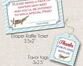 Vintage Airplane Raffle Tickets and Matching Tags/Stickers - Diaper Raffle Ticket - Baby Shower -Printable Thank You Instant Download