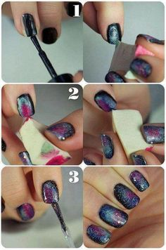 Outter Space nails. Need black, glitter, teals and pink colors and make up sponges