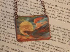 Art necklace Art jewelry Kahlil Gibran  mixed media jewelry by SarahWoodJewelry on Etsy