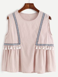 Embroidered Tape Detail Tassel Trim Top