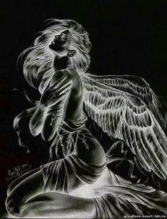 Angel or fairy animated gif Dark Fantasy Art, Fantasy Kunst, Fantasy Art Women, Kreative Portraits, Angel Artwork, Beautiful Dark Art, Angel Drawing, Demon Art, Angel And Devil