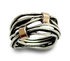 Two tone Wedding Band Boho chic ring Silver Band by artisanlook