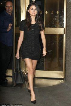 Selena Gomez wearing Louis Vuitton Trocadero Bag, Giuseppe Zanotti Geometric Cut Out Pumps and Chanel Fall 2008 Dress