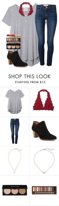 """""""Red and black❤️"""" by emmagracejoness ❤ liked on Polyvore featuring Olive + Oak, Frame, Jack Rogers, Kendra Scott, Stila, Urban Decay and Too Faced Cosmetics"""