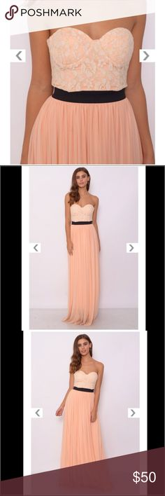 NWT Rare London cream and peach bustier maxi dress Brand new with tags, super flowy and beautiful! Padded and structured bustier top. Rare London Dresses Maxi