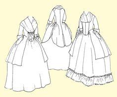 Caraco    Chaqueta larga que se puede usar hacia arriba o abajo a la polonesa , con tira fruncido opcional que se adjunta en la parte frontal centro para mantener pañuelo en su lugar.