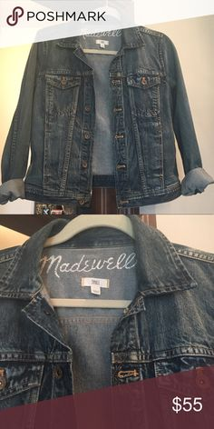 Timeless Madewell Jean Jacket! Timeless Madewell Jean Jacket!  I bought this to wear for family pictures and living in a very warm climate have not worn it since, so I am selling. Was $118 new!  It is the perfect medium blue denim. Madewell Jackets & Coats Jean Jackets