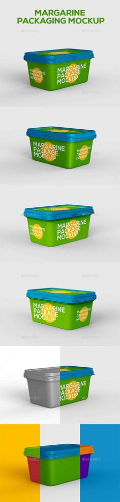 Margarine Packaging Mockup by kurokstas Container for margarine spread, butter or melted cheese �20PSD file�20Smart objects�20Fully organized layers and folders�20Photoreali
