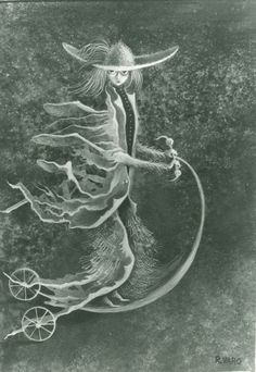 1960 PERSONAGE, Remedios Varo Uranga (1908~1963, Spanish-Catalan born Mexican para-surrealist painter and anarchist)