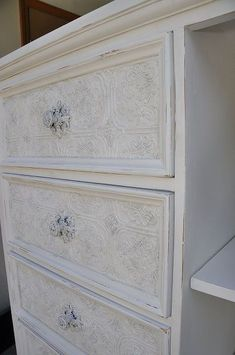 Cute little chest of drawers that Ive used anaglypta wallpaper on