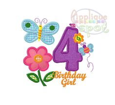 Hugs and Stitches Forth 4th Birthday Girl 4 - 4x4 5x7 6x10 Applique Design Embroidery Machine -Instant Download File