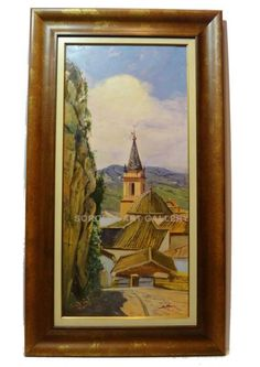 Rafael Atencia : Town. Medium: Oil on canvas Measurements (cm): 125x71 Canvas measurements (cm): 100x46 Interior frame: YesIn these works we find a perfect balance of colour and form, his lines are very thin and delicate, the brush does not stain the canvas, rather caresses it with great tenderness and delicacy. His figures are serene, very human, very intimate when viewed with interest. The landscapes are very well done with a pleasant serious colouring, well studied and with character…