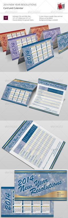 """2014 New Year Resolutions - Card and Calendar  #GraphicRiver        2014 New Year Resolutions – Card and Calendar Description  Keep track of your New Year Resolutions with this handy business-card-size calendar. No need to wait till next year if you fail to stick to your goals. Just start again next month and keep a record of your accomplishments by writing a check mark or an """"x"""" in the empty squares for each month, or rate your progress on a scale from 1 to 10.  Use the examples of goals…"""