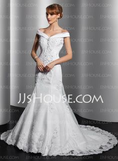 Wedding Dresses - $196.99 - Mermaid Off-the-Shoulder Chapel Train Organza Satin Wedding Dress With Ruffle Lace Sequins (002014749) http://jjshouse.com/Mermaid-Off-The-Shoulder-Chapel-Train-Organza-Satin-Wedding-Dress-With-Ruffle-Lace-Sequins-002014749-g14749