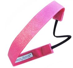 Check out this piece of Eye Candy! Fun pink grosgrain ribbon with a sparkly glitter overlay. This style is ready to party in any conditions, even your toughest workouts. Whether you are running errands or running a marathon, these non-slip headbands are the perfect accessory to keep you looking and feeling great while staying active. Each band is lined with velvet for a comfortable grip that does not pull your hair.