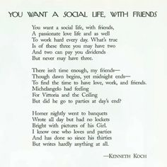 """Whenever someone asks me about ""work/life balance"" I laugh & send them this Kenneth Koch poem"""