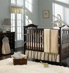 loving this - thought grey wouldn't go with a dark crib - looks nice!  Grace 3-Piece Crib Bedding Set