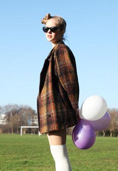 Vintage Brown Check Coat - Love the colors.